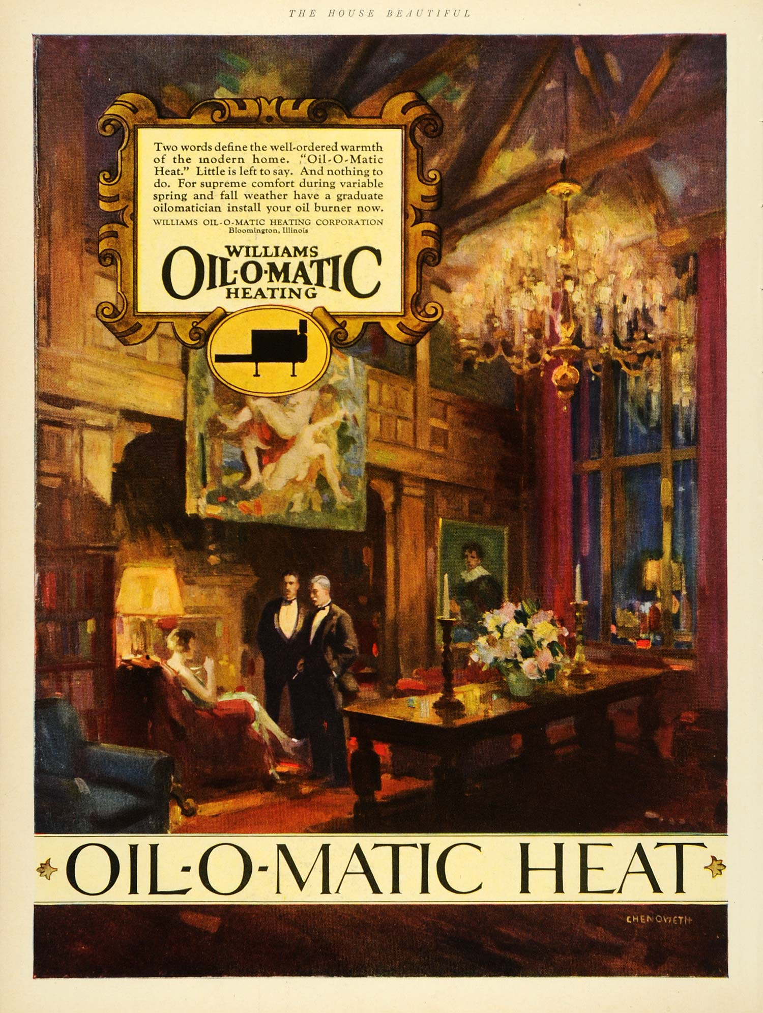 1927 Ad Williams Oil-o-Matic Heating Dinner Wealth Bloomington Illinois HB3