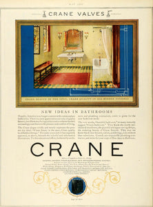 1927 Ad Crane Valves Fixtures Bathroom Chicago Illinois Bath Sink Home Decor HB3