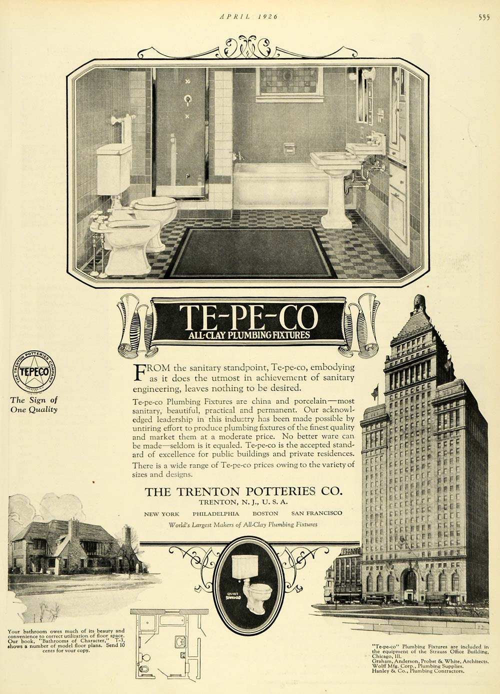 1926 Ad Te Pe Co Clay Plumbing Bathroom Fixtures Trenton Potteries New HB3
