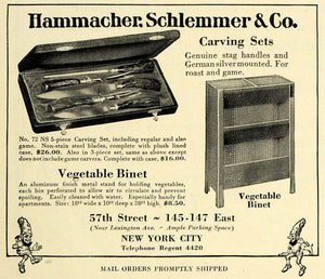 1927 Ad Hammacher Schlemmer Carving Knives Vegetable Binet Cabinet HB3