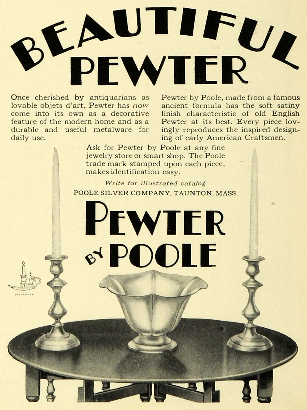 1929 Ad English Pewter Poole Silver Household Home Decor Candlestick Holders HB3