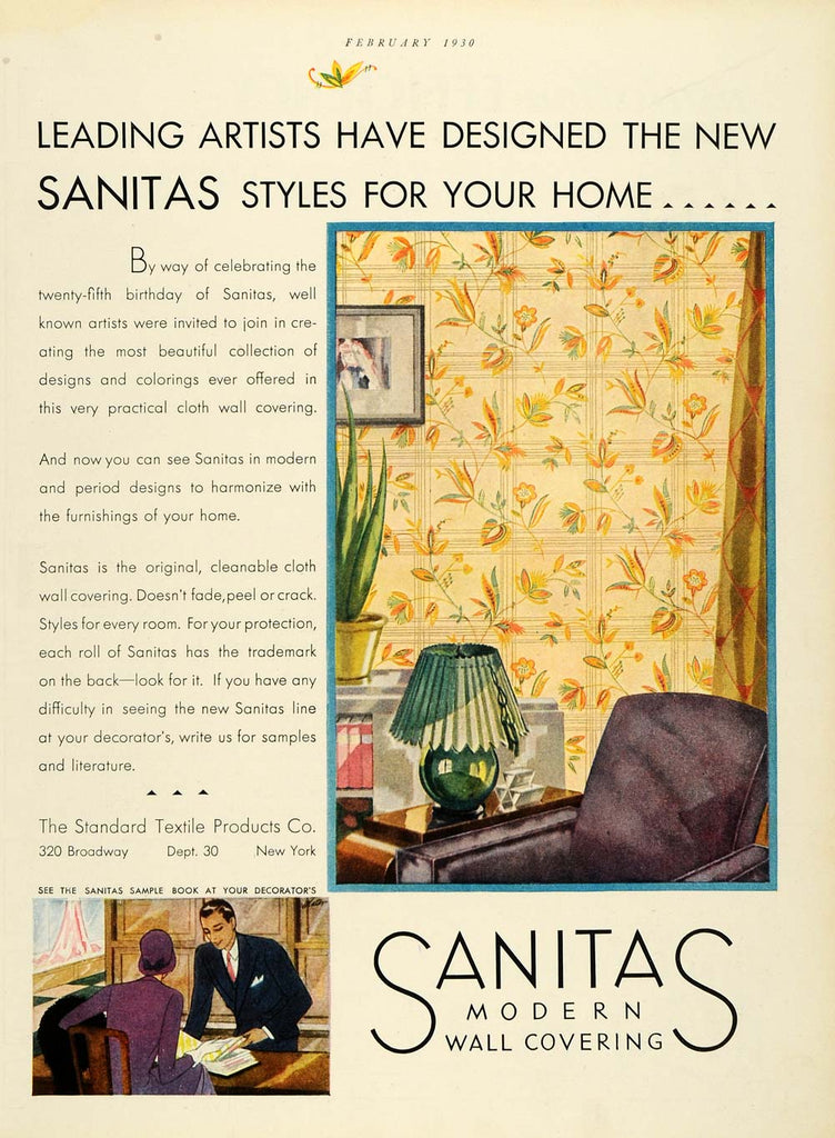 1930 Ad Standard Textile Products Sanitas Wall Coverings Wallpaper Home HB3