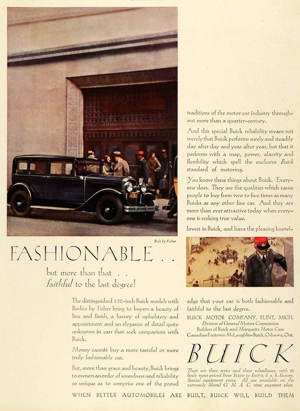 1930 Ad Buick Motor Cars Fisher Body Models Automobiles Travel Bellboy G   M  HB3