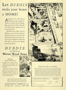 1930 Ad Dubois Fence Garden Co Home Materials Construction Woven Wood Fence HB3