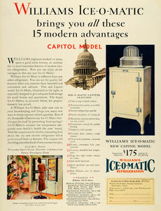 1930 Ad Capitol Kitchen Bloomington IL Ice-O-Matic Williams Refrigeration HB3