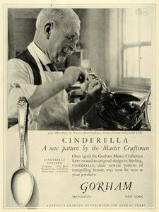 1925 Ad James Albert Major Craftsman Gorham Engraving Cinderella Spoon Ellis HB3