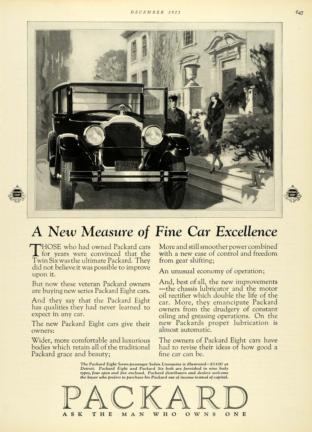 1925 Ad Residence Lady Art Deco Luxury Packard Eight Sedan Limousine HB3