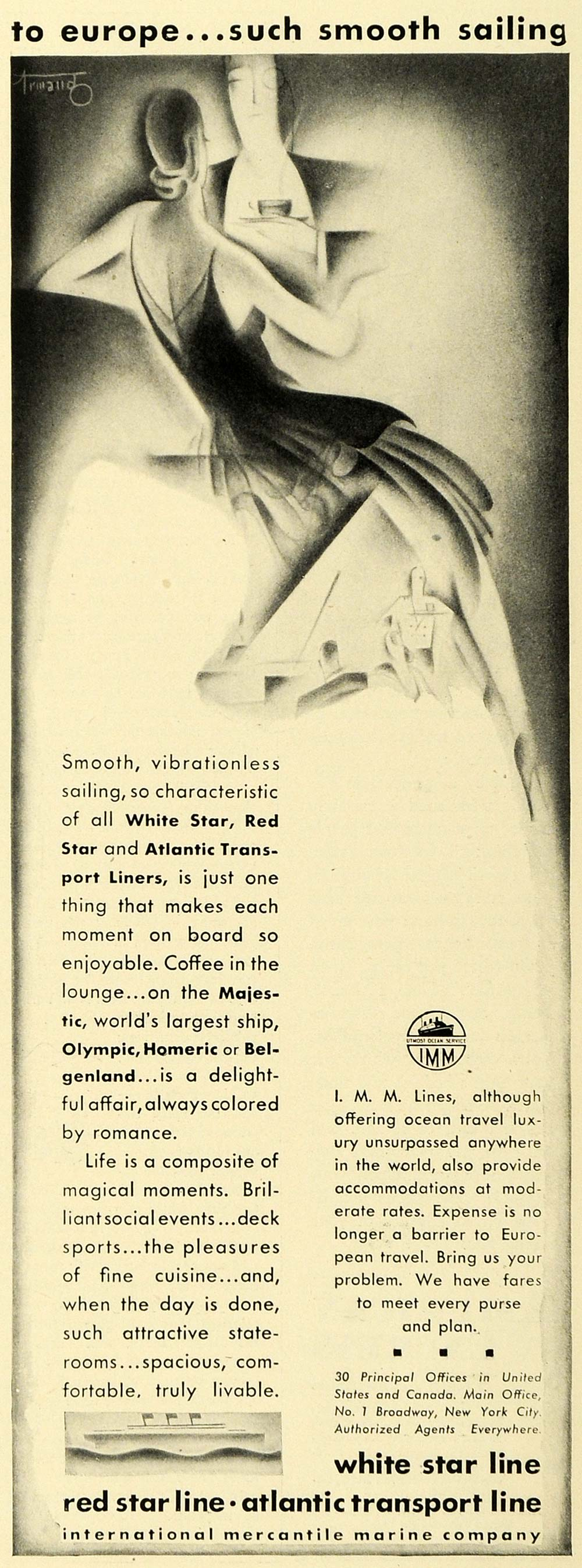 1930 Ad White Star Line Red Atlantic Mercantile Dining Homeric Ship Tourism HB3
