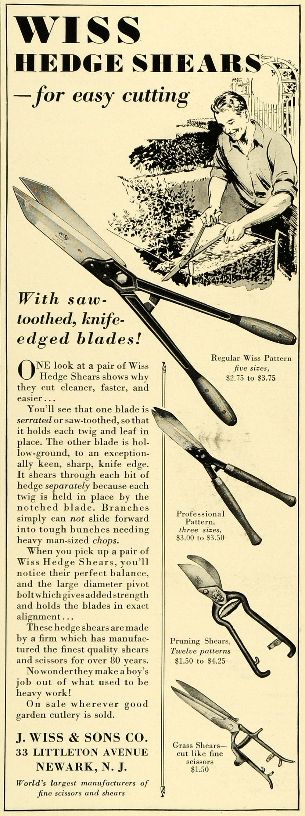 1930 Ad Wiss Hedge Shears Newark New Jersey Garden Bush Pruning Grass Tool HB3