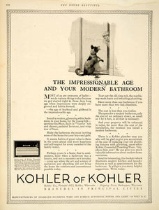 1922 Advert Kohler Plumbing Dog Child Bathroom Bathub Viceroy Enamel HB4