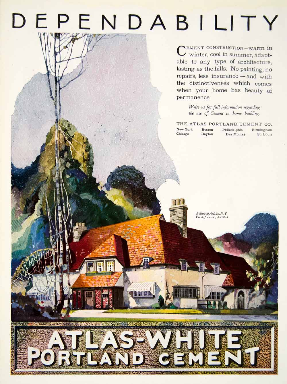 1922 Ad Atlas-White Portland Cement Ardsley Frank Forster House  Construction HB4