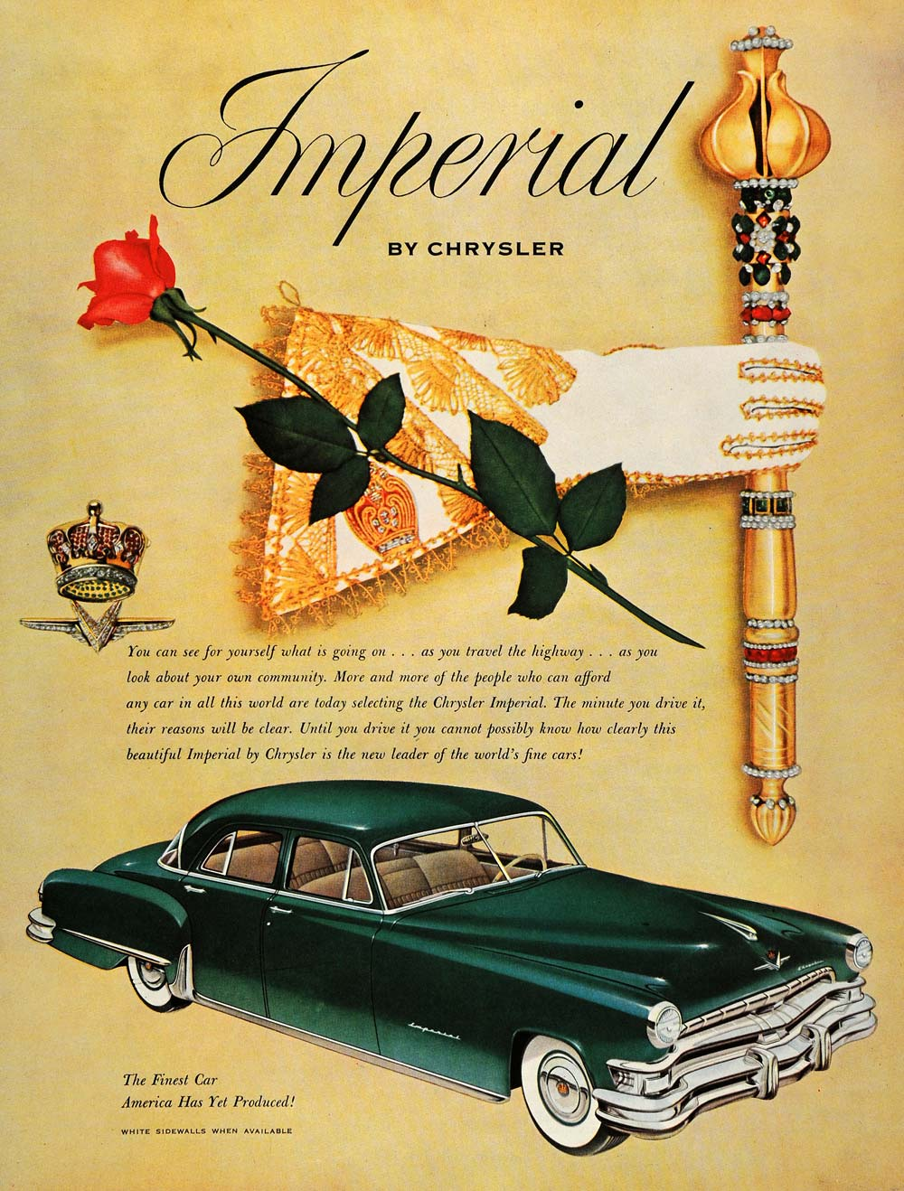 1952 Ad Green Imperial Chrysler Automobile Rose Wand - ORIGINAL ADVERTISING HDL1