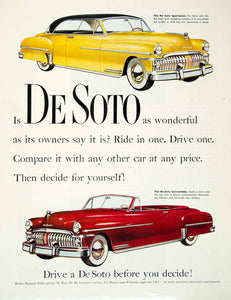 1950 Ad Plymouth De Soto Sportsman Convertible Tom Howard CBS Chrysler HDL2
