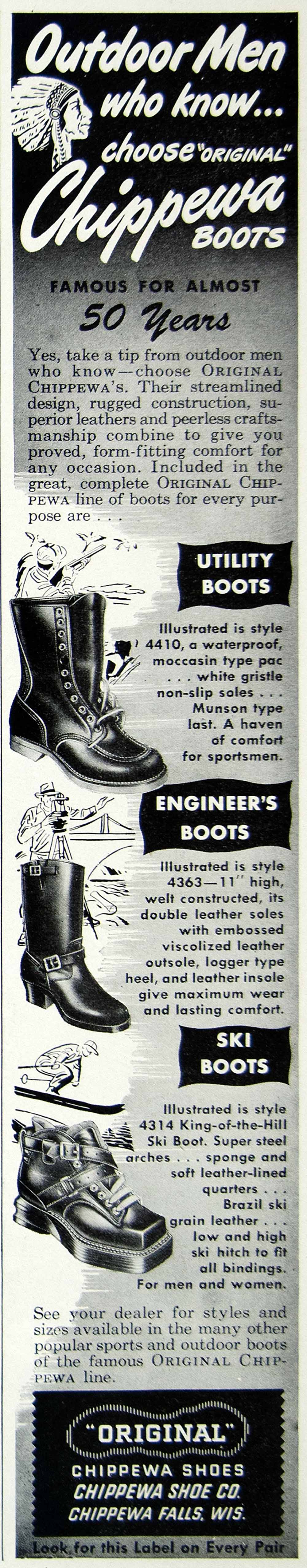 1948 Ad Chippewa Falls Boots Shoes Wisconsin Engineer Ski Utility Indian HDL2