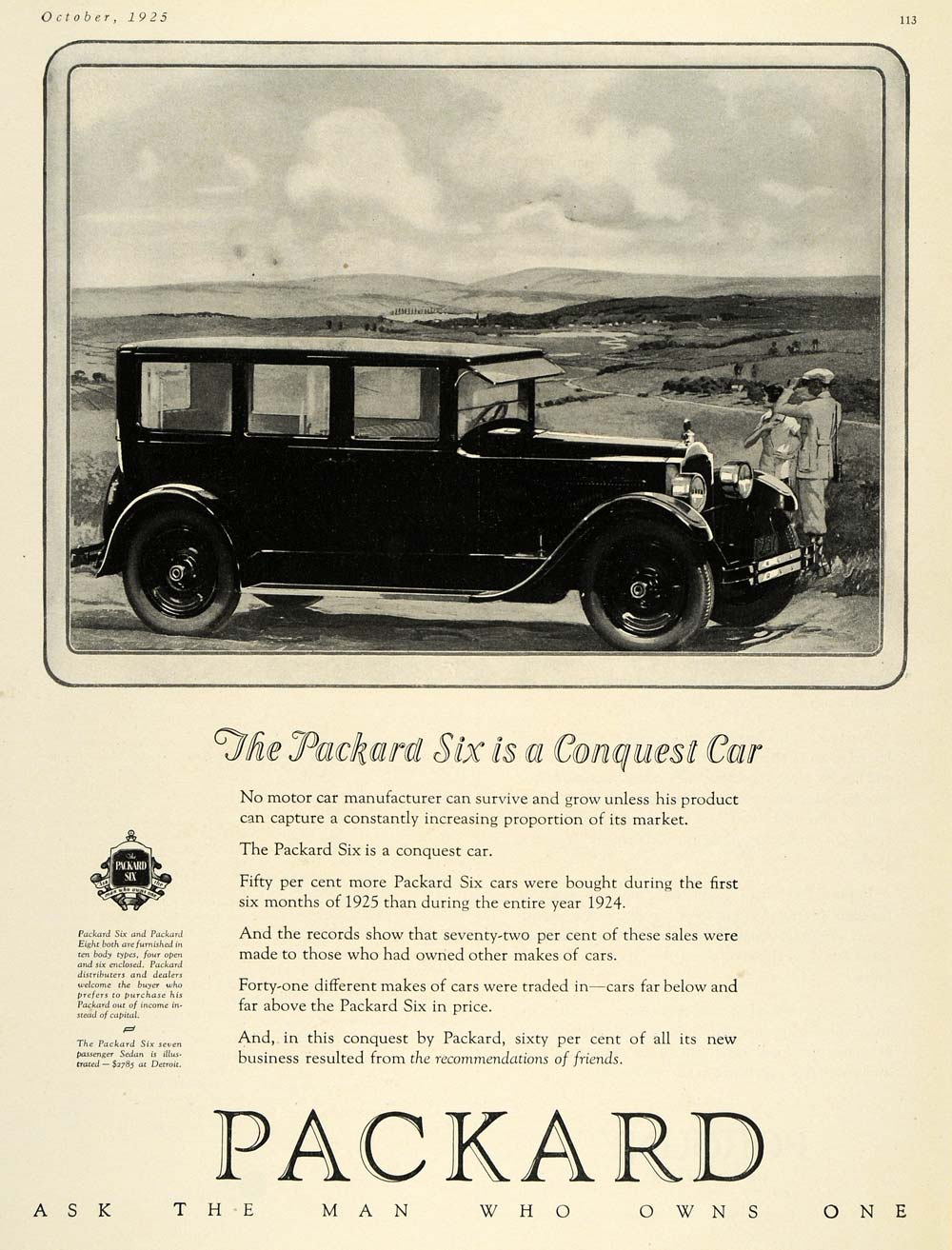 1925 Ad Packard Car Automobile Six Landscape Engine - ORIGINAL ADVERTISING HG1