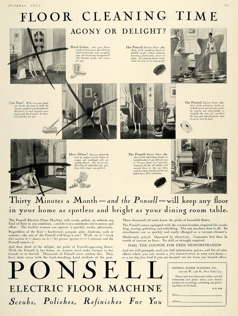 1925 Ad Ponsell Electric Floor Machine Polish Home Tool - ORIGINAL HG1