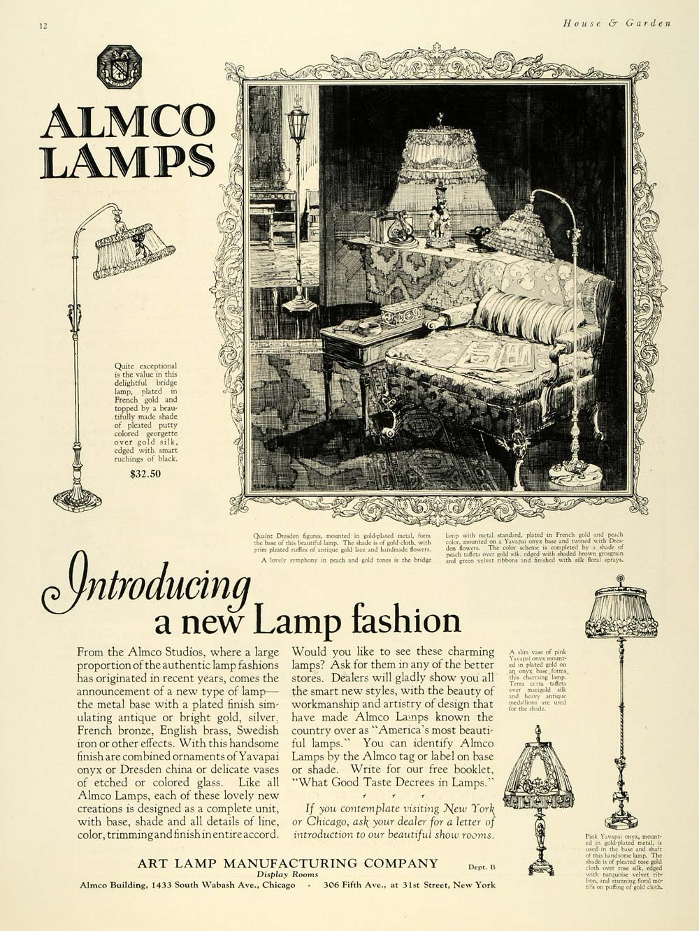 1925 Ad Art Almco Lamps Home Decor Pricing Decorative - ORIGINAL ADVERTISING HG1