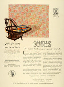 1925 Ad Sanitas Wall Covering Standard Textile Decor - ORIGINAL ADVERTISING HG1