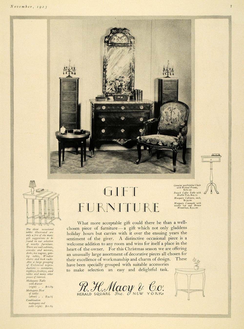 1923 Ad Furniture R H Macy Coffee Table Frame Dresser - ORIGINAL ADVERTISING HG1