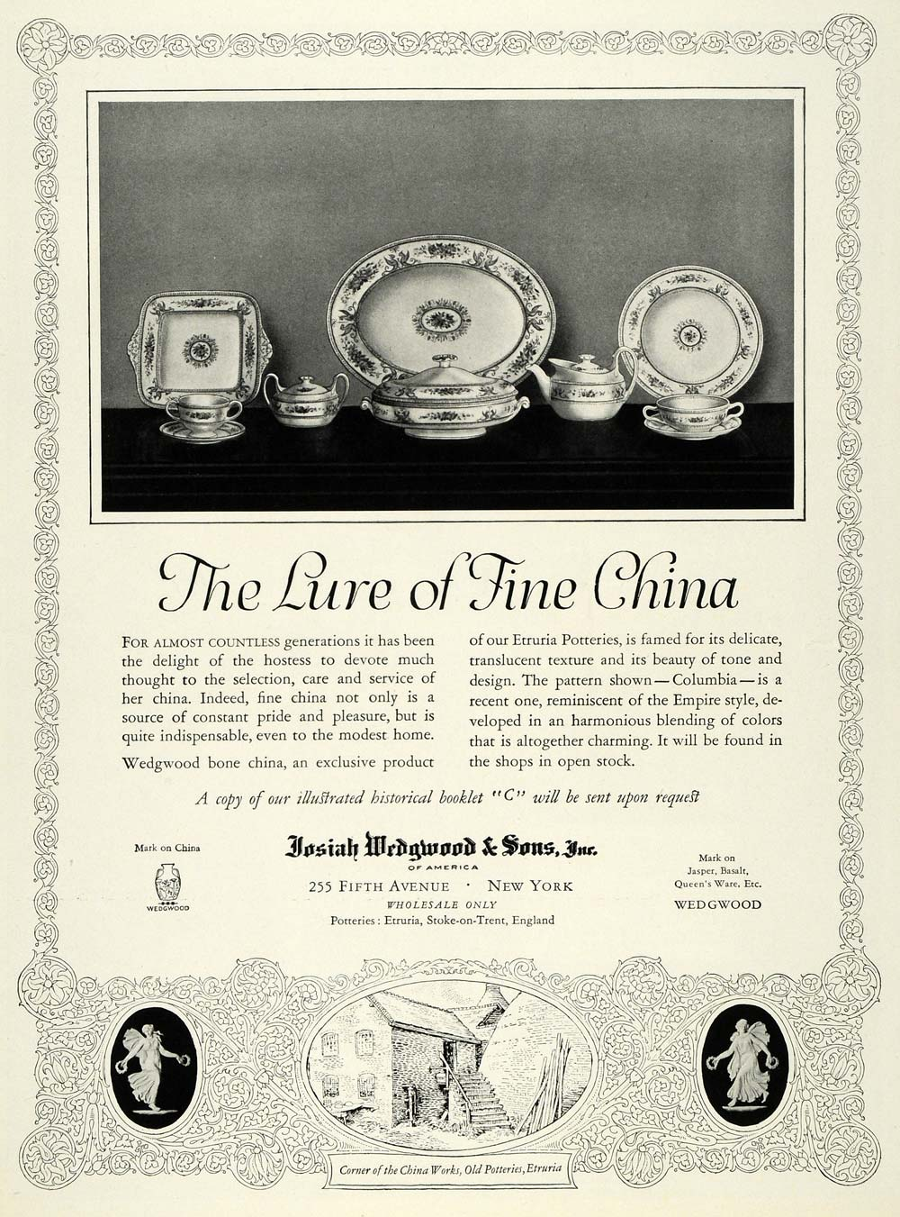 1925 Ad Josiah Wedgwood Fine China Home Decorative - ORIGINAL ADVERTISING HG1