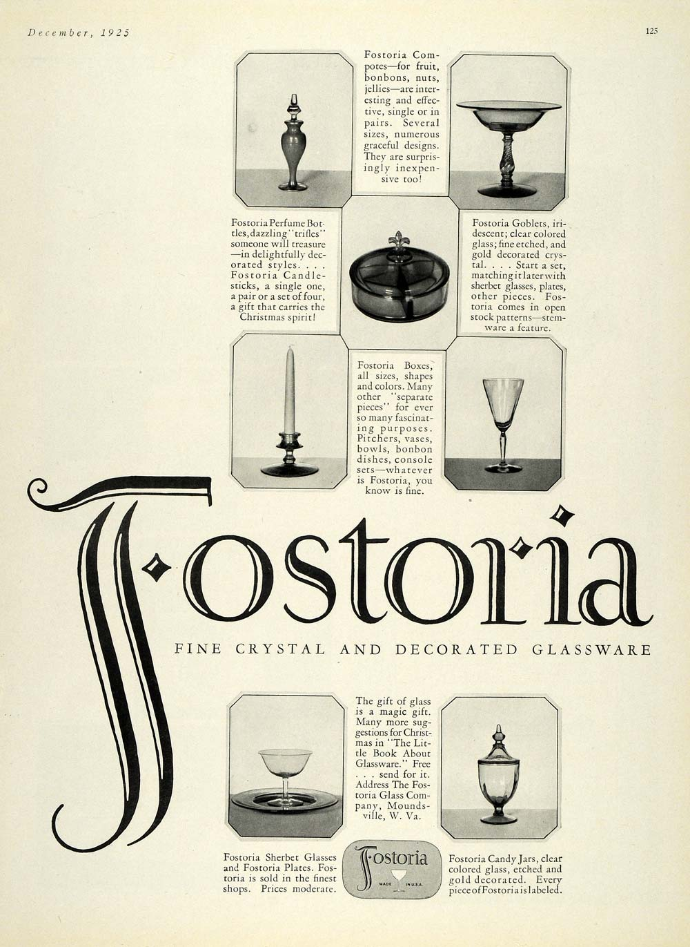 1925 Ad Fostoria Crystal Glassware Decorative Vases - ORIGINAL ADVERTISING HG1
