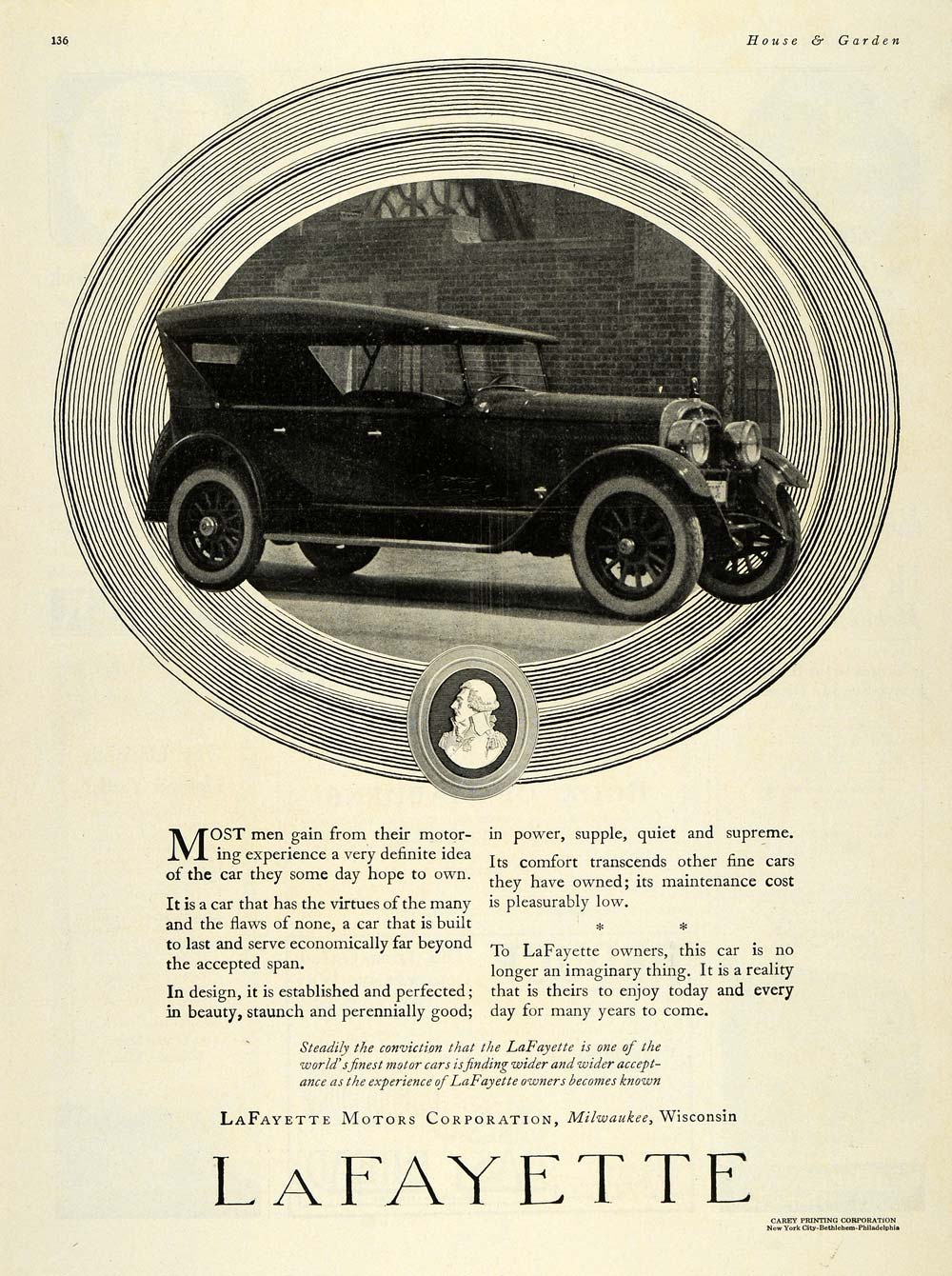 1923 Ad LaFayette Antique Cars Milwaukee Wisconsin - ORIGINAL ADVERTISING HG1