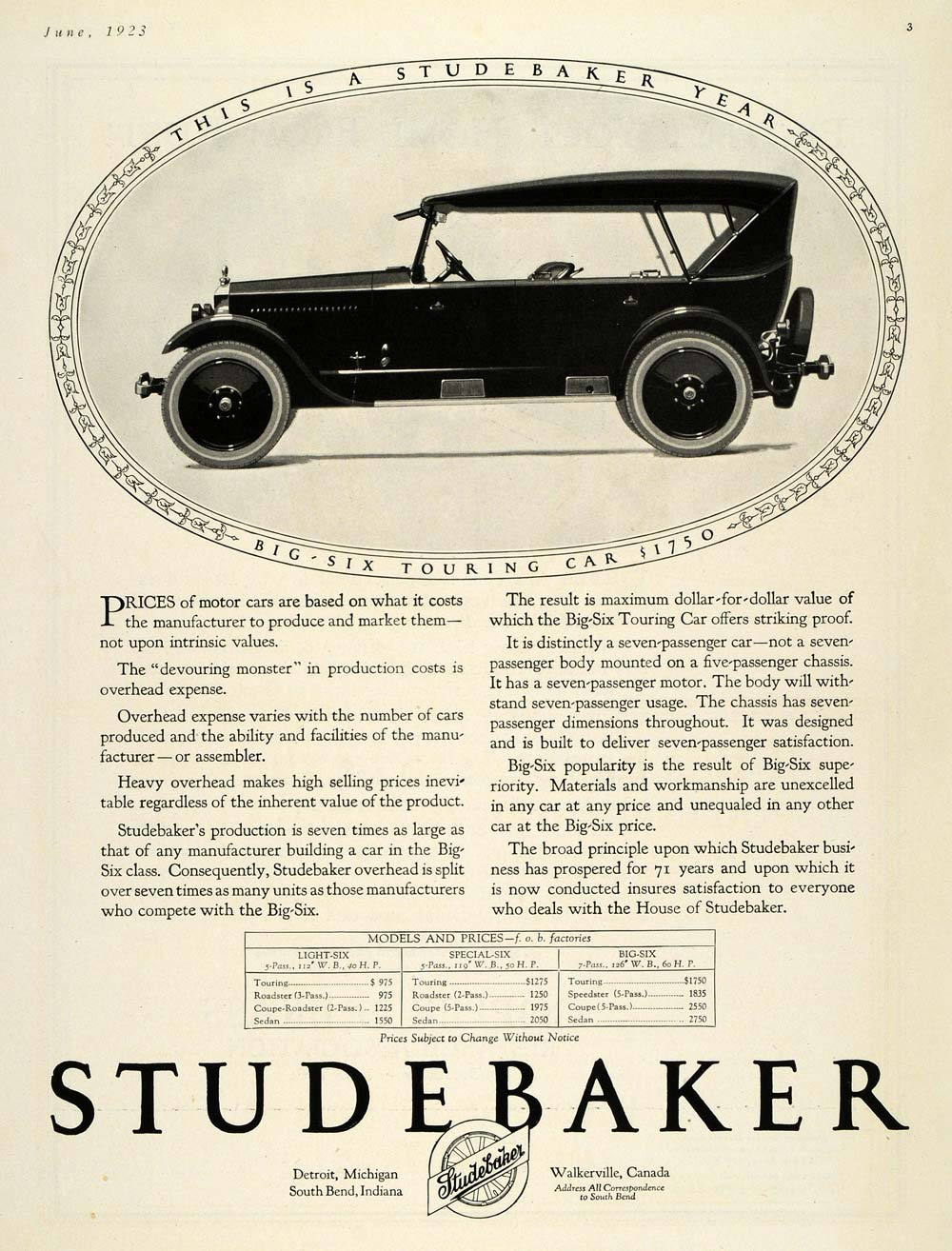 1923 Ad Antique Studebaker Big Six Touring Car Pricing - ORIGINAL HG1