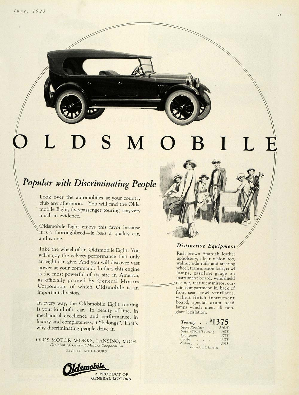 1923 Ad Olds Motor Works Oldsmobile Touring Sedan Golf - ORIGINAL HG1