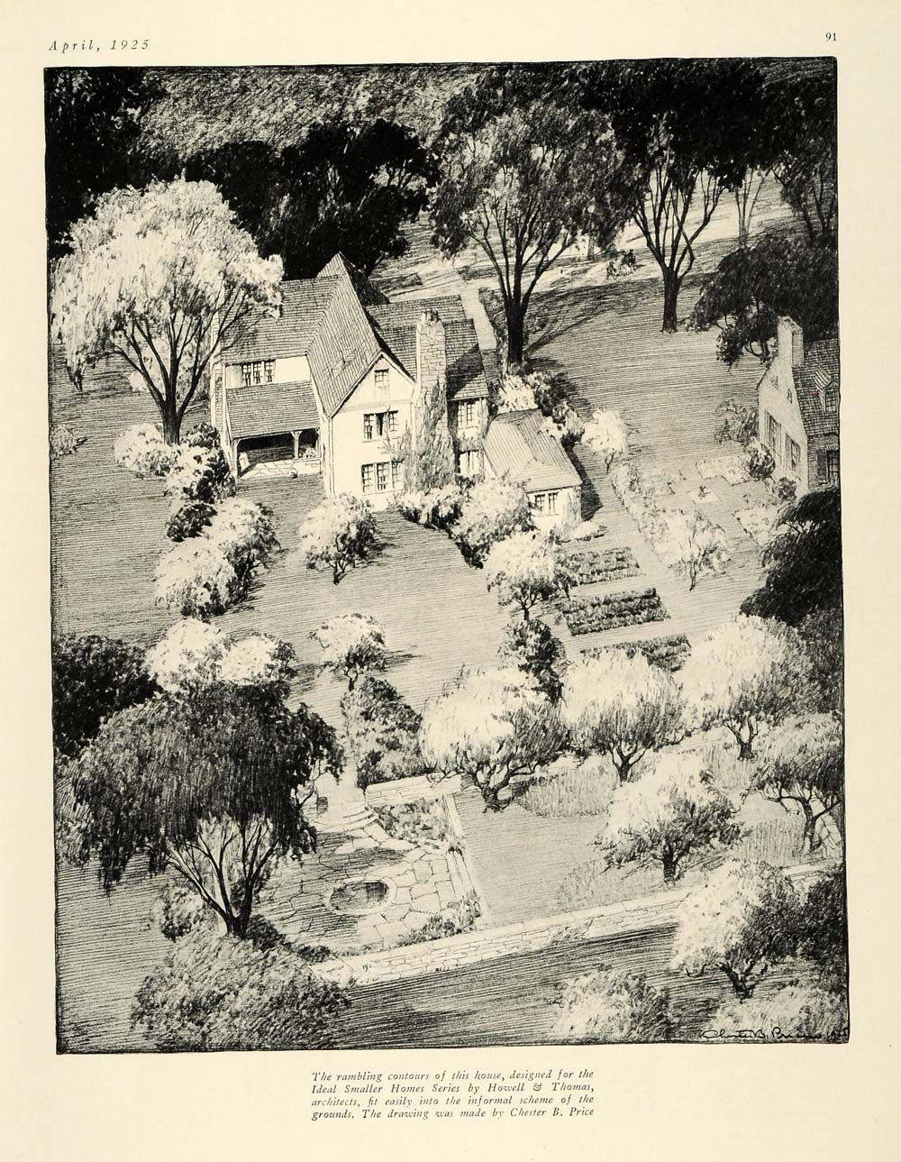 1925 Print Architecture Howell Thomas Chester B. Price Lanscapes Home HG1