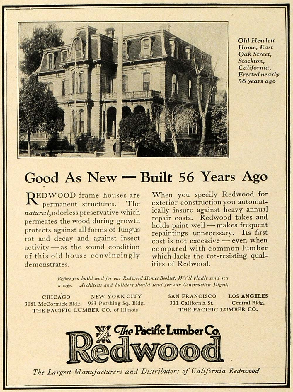 1923 Ad Pacific Lumber Redwood Timber Home Building Hewlett Home Stockton CA HG1