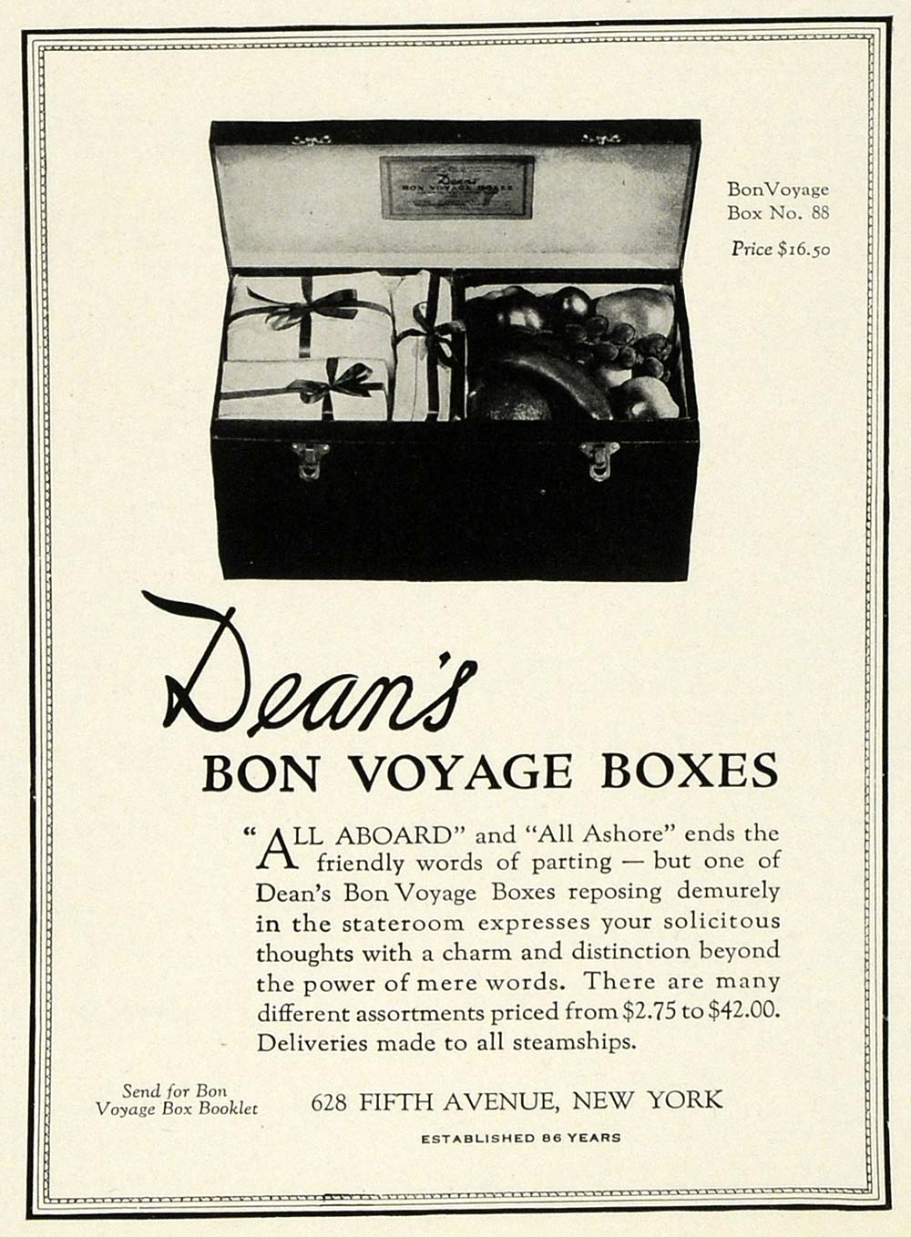 1925 Ad Dean's Bon Voyage Traveling Food Boxed Meals 628 fifth Ave NY HG1