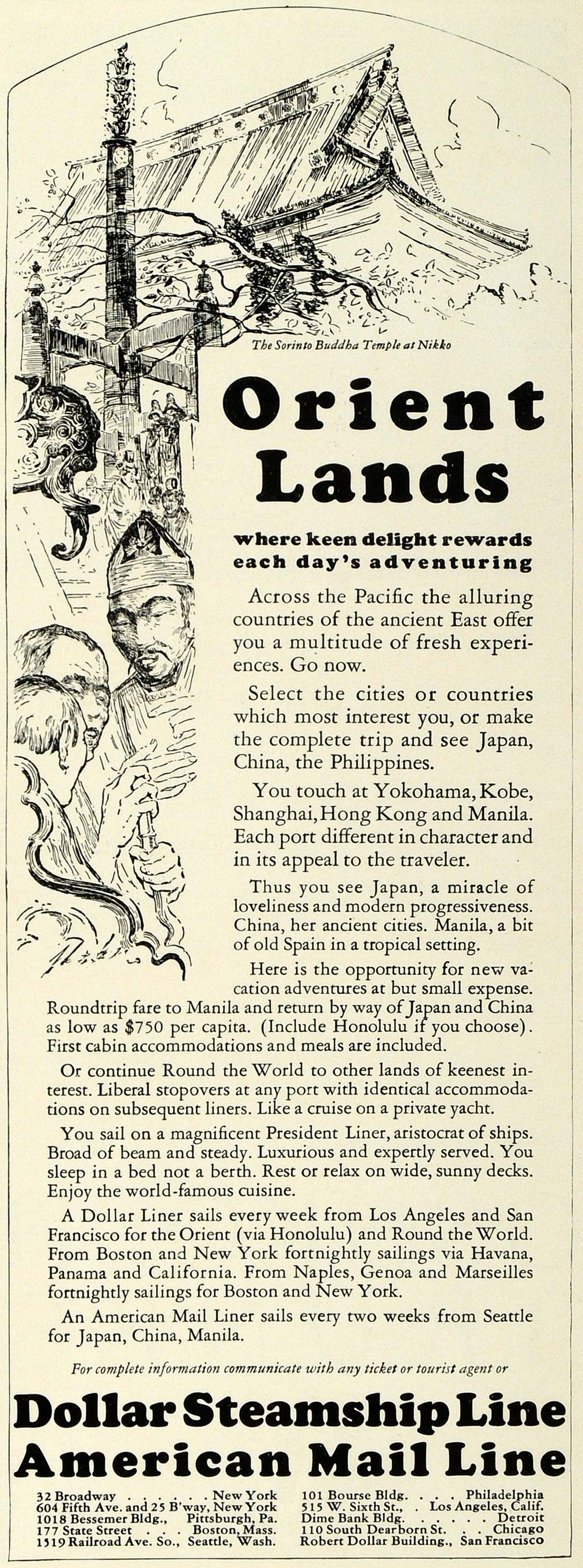 1927 Ad Dollar Steamship Line Travel Japan Nikko Temple Orient Lands HG1