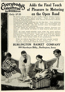 1923 Ad Burlington Hawkeye Refrigerated Picnic Basket Food Outdoors Camping HG1