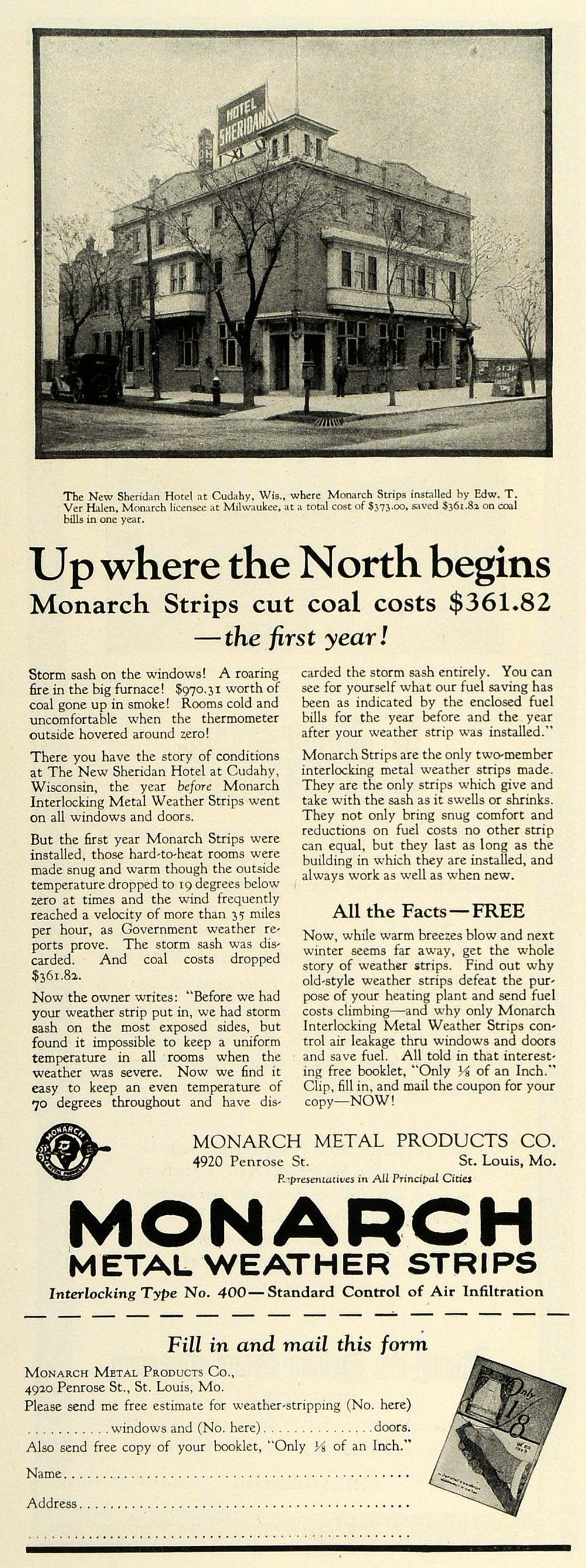 1925 Ad Monarch Weather Strips Sheridan Hotel Cudahy Milwaukee Improvement HG1