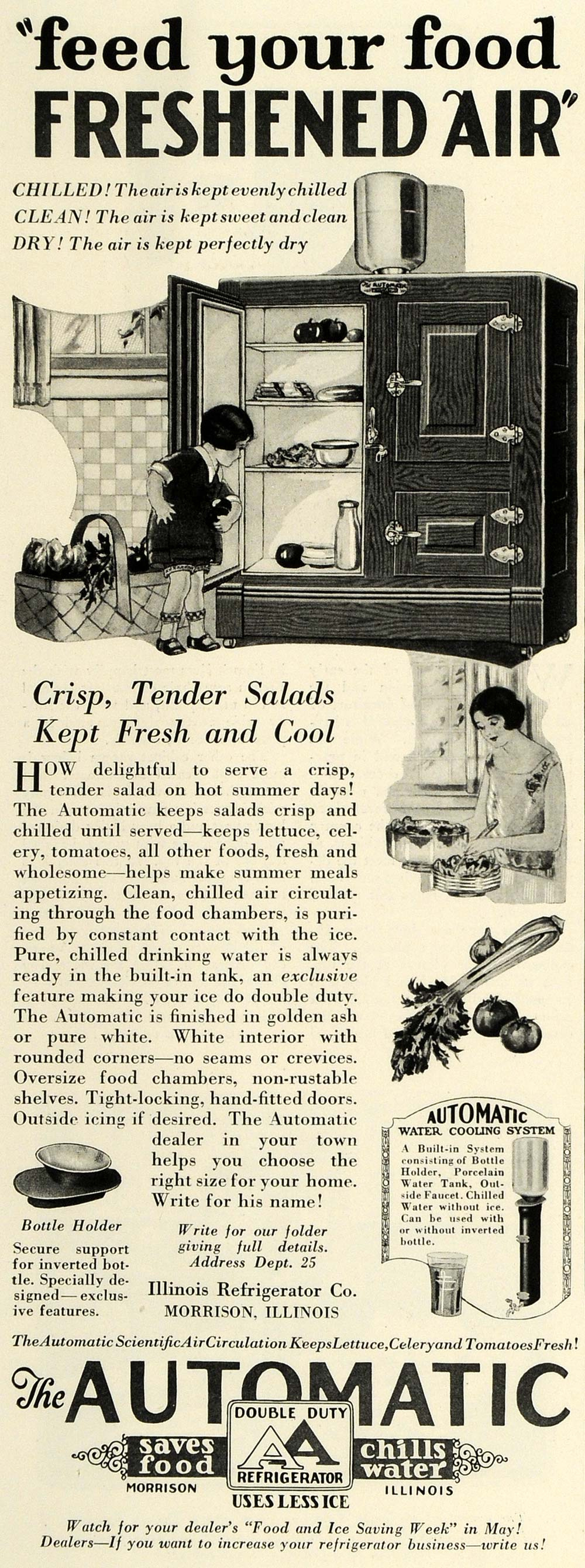 1925 Ad Illinois Double Duty Refrigerator Girl Foods Kitchen Appliance Cold HG1
