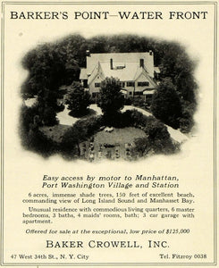 1924 Ad Baker Crowell Real Estate Barker's Point House Water Front Manhasset HG1