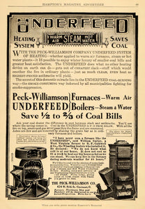 1909 Ad Peck-Williamson Underfeed Furnaces Boilers Heat Steam Warm Air HM1