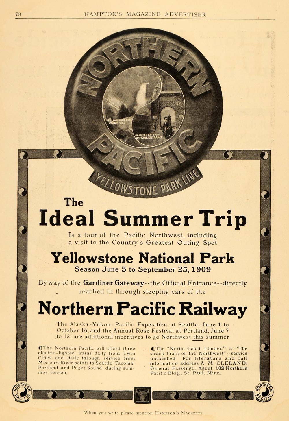 1909 Ad Northern Pacific Railway Yellowstone Park Travel Trip Sleeping Cars HM1