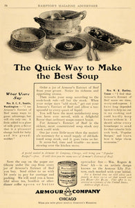 1911 Ad Armour Beef Extract Soup Antique Tin Chicago Dishes Broth Stock HM1