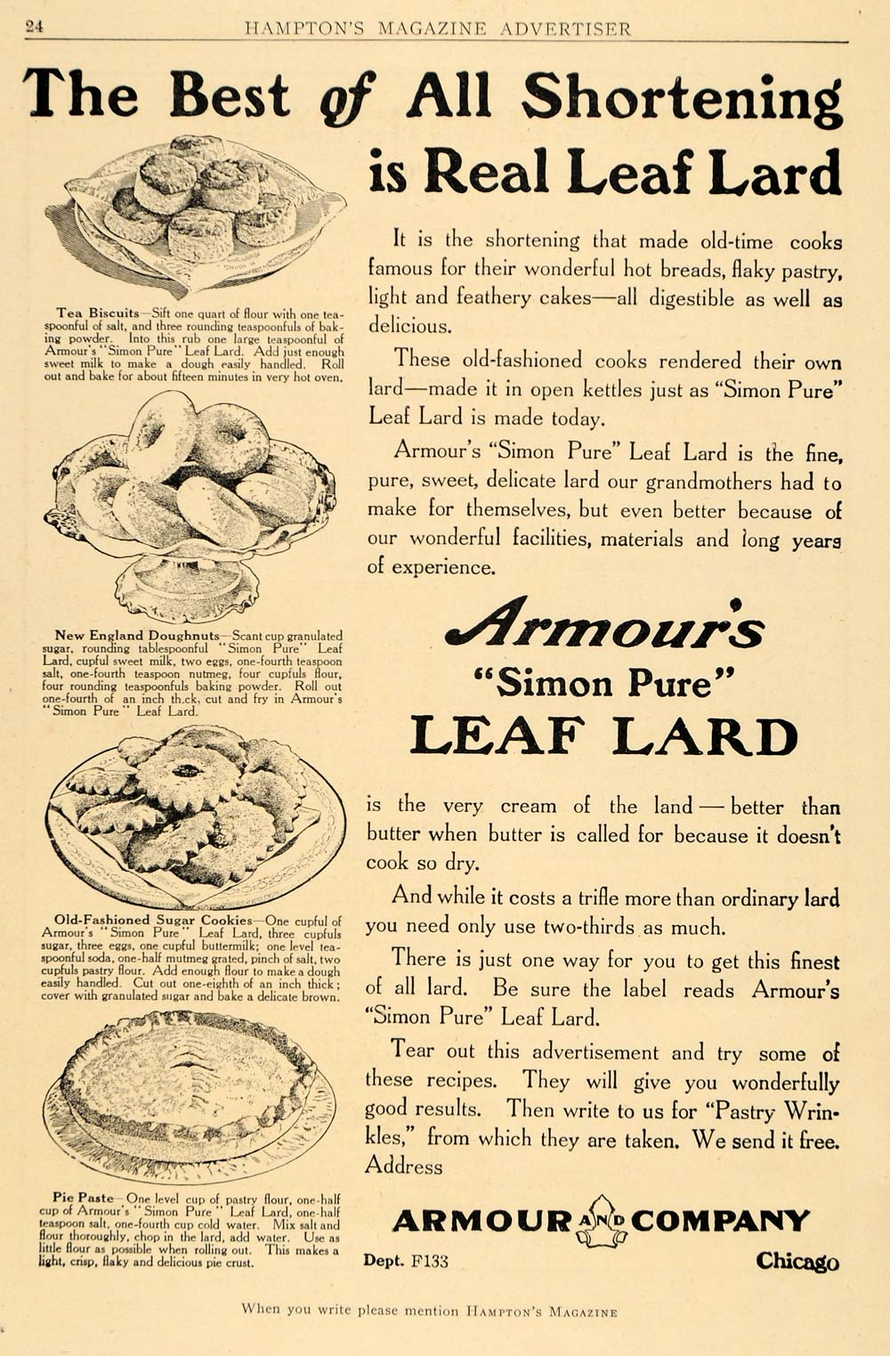 1911 Ad Armour Simon Pure Leaf Lard Baking Pastry Sweet Cook Sweets Desserts HM1