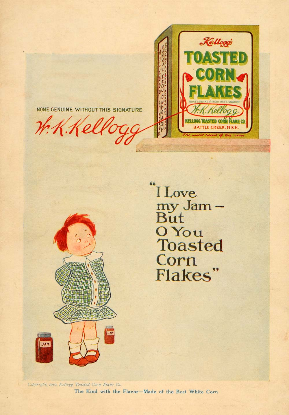 1910 Ad W. K. Kellogg Toasted Corn Flake Redhead Child Breakfast Cereal HM1