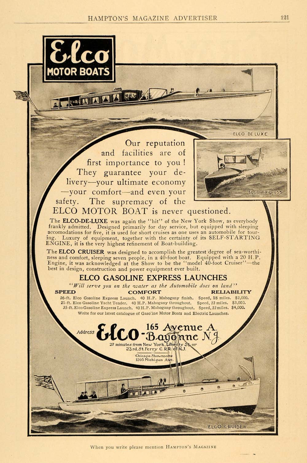1910 Ad Elco Motor Boats De Luxe Express Cruiser Models Marine Boating Water HM1 - Period Paper