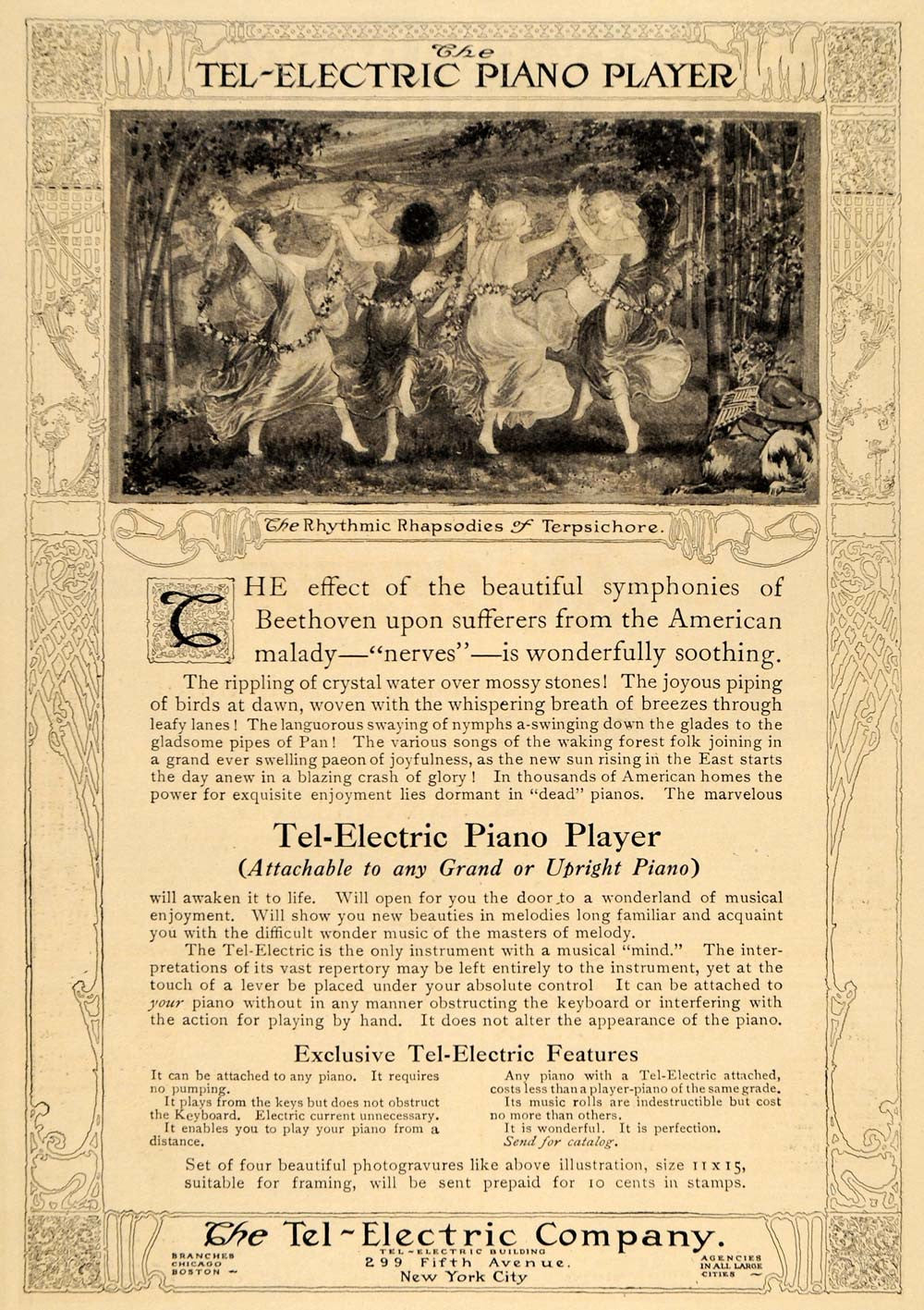 1911 Ad Tel-Electric Piano Player Instrument Pan Flute Music Note  Instrument HM1