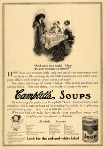 1912 Ad Joseph Campbell Canned Soup Cooking Women Table Broth Stock Tin HM1