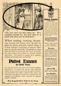 1912 Ad Pabst Extract Tonic Drug Nerves Medicine Sleep Beer Milwaukee WI HM1 - Period Paper