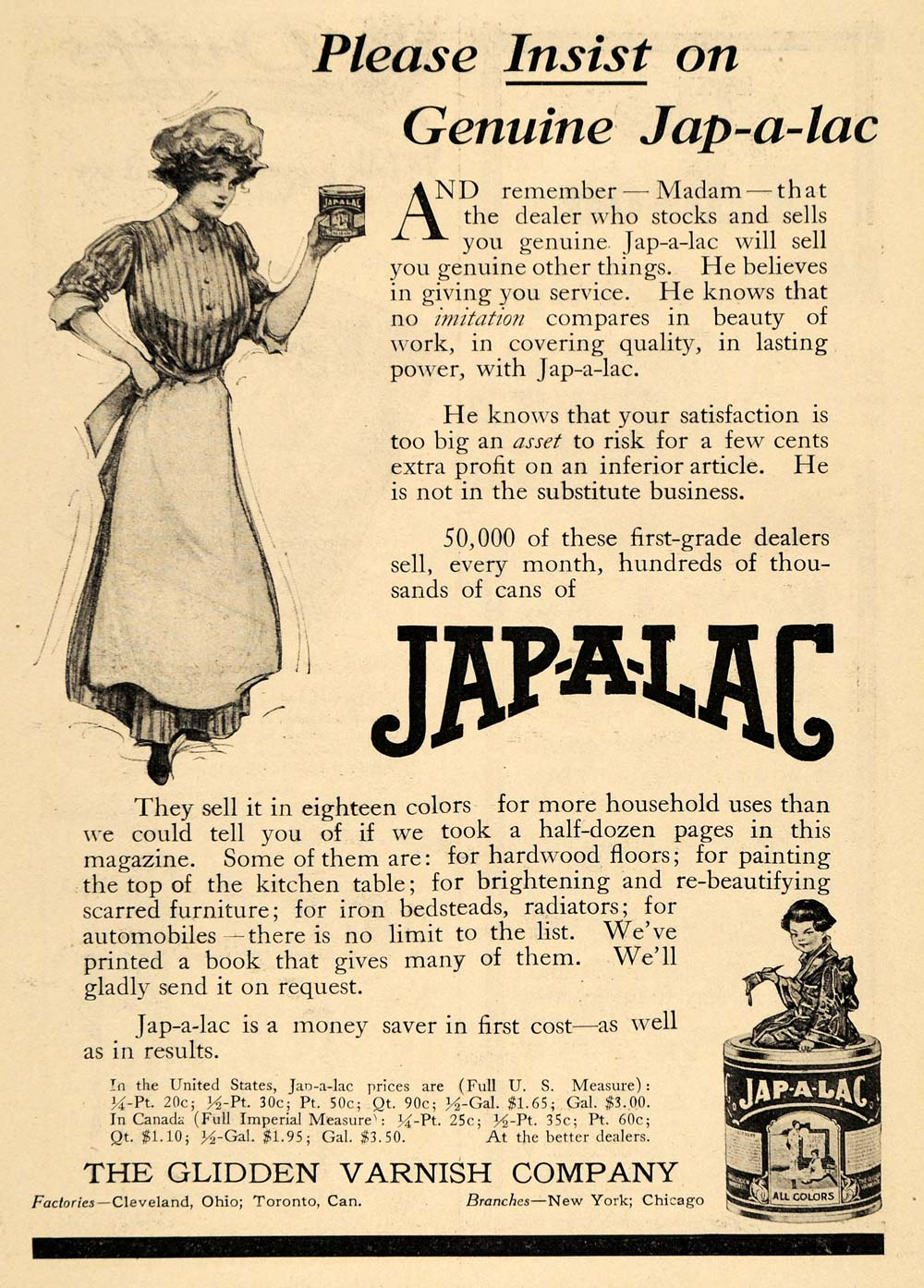 1911 Ad Jap-a-lac Glidden Varnish Paint Floor Housewife Restore Stain Curing HM1
