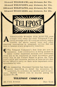 1909 Ad Telepost Telegrams Pricing 225 Fifth Ave NY Service Communicate HM1