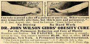 1909 Ad Dr. John Wilson Gibbs' Obesity Cure Fat Arms Fitness Beauty Health HM1