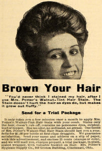 1909 Ad Mrs. Potter's Walnut-Tint Hair Stain Dye Brown - ORIGINAL HM1