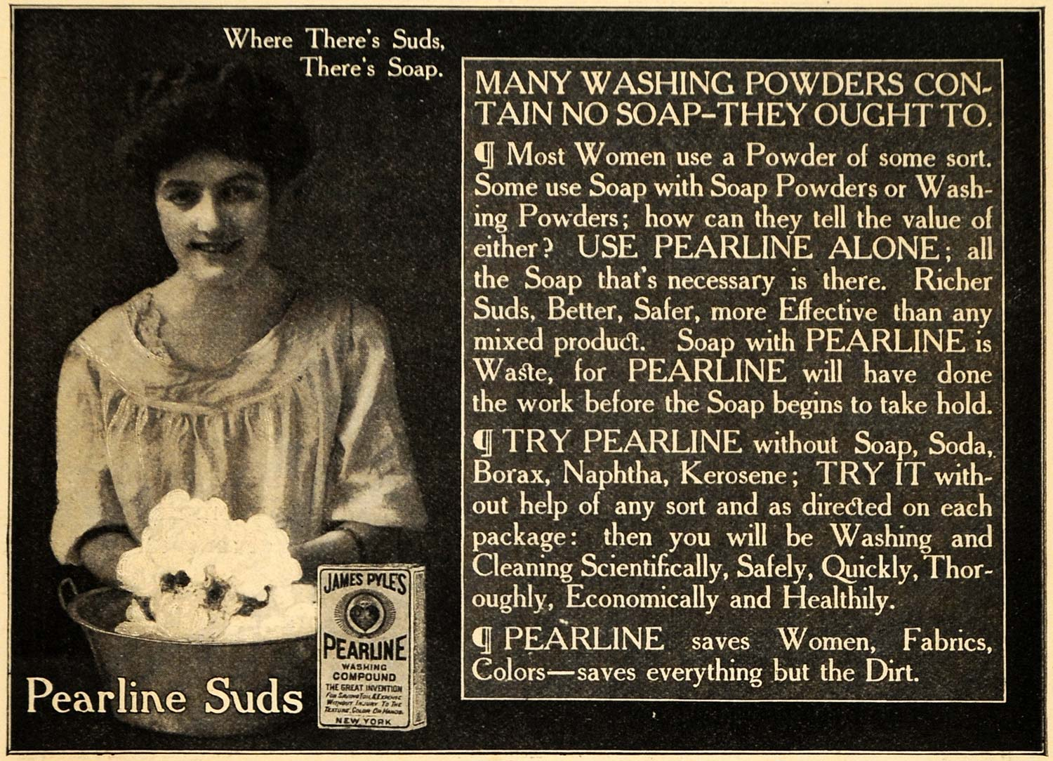 1909 Ad Pearline Suds Soap Box Woman Washing Laundry - ORIGINAL ADVERTISING HM1